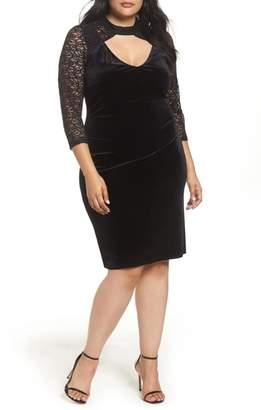 Marina Velvet & Glitter Lace Sheath Dress