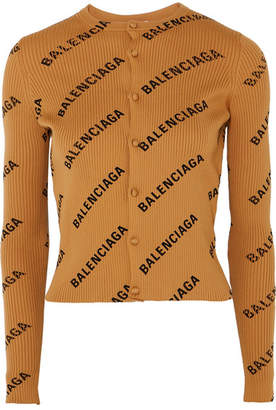 Balenciaga Printed Ribbed-knit Cardigan - Sand