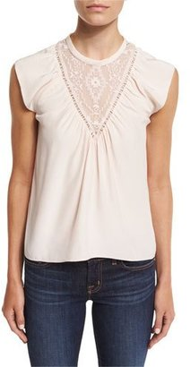 Rebecca Taylor Sleeveless Silk Southwestern Top, Pale Blush $295 thestylecure.com
