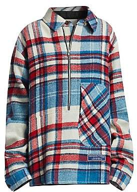 We11Done We11Done Women's Half Zip Plaid Wool Pullover Shirt