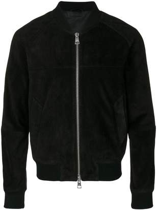 Ami Alexandre Mattiussi suede leather zipped jacket with raglan sleeves