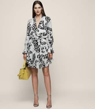 Reiss SERENELLA PRINTED TIE-WAIST DRESS Multi