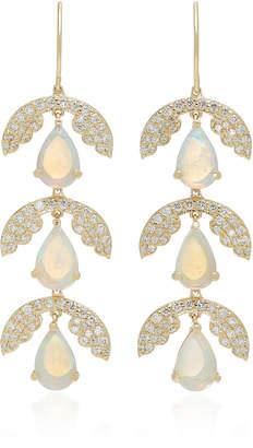 Ilana Ariel Three Drop Jasmine 14K Gold Opal And Diamond Earrings