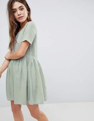 Asos Design Casual Mini Smock Dress in Grid Texture