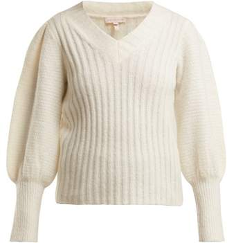 Rebecca Taylor Puffed Sleeve V Neck Sweater - Womens - White