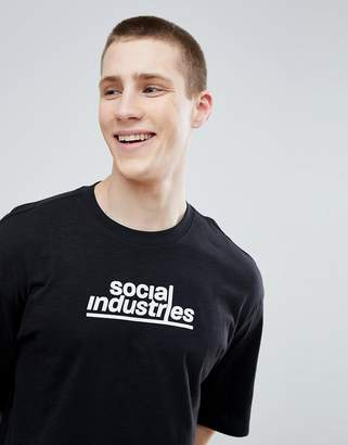 Jack and Jones Core Drop Shoulder T-Shirt With Social Industries Graphic