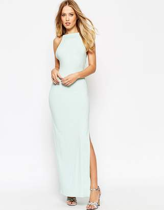 Asos Design High Neck Strappy Back Maxi Dress