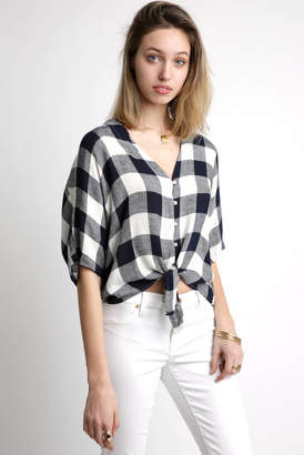 Rails Thea Checker Pattern Tie Front Button Down Shirt