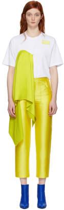 MSGM White and Yellow Satin Insert T-Shirt
