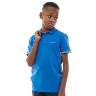 Ben Sherman Junior Boys Collar Print Polo Nautical Blue