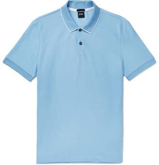 HUGO BOSS Contrast-tipped Cotton-pique Polo Shirt - Blue