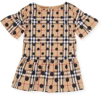 Burberry Little Girl's Check Polka-dot Dress