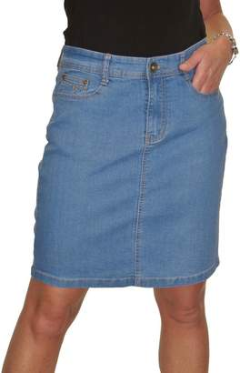 Ice 2550-2) Stretch Denim Above Knee Length Jeans Skirt Mid Blue 4-16