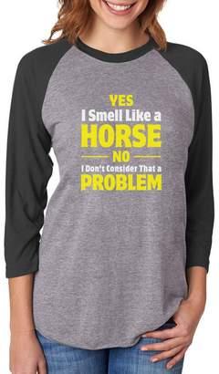 TeeStars Smell Like a Horse Funny Riding Gift 3/4 Women Sleeve Baseball Jersey Shirt