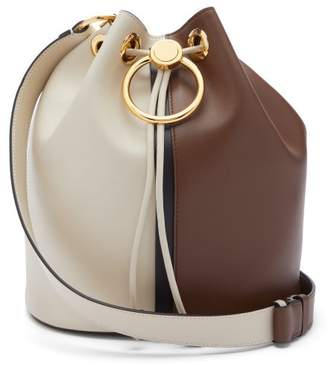 Marni Earring Small Leather Bucket Bag - Womens - Brown White