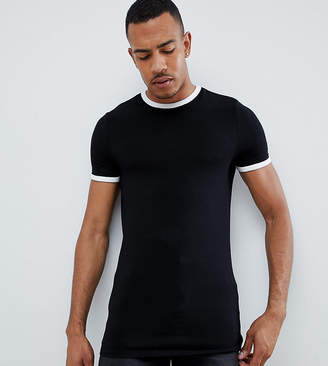 1c3a6dd3fe4 Asos Design DESIGN Tall muscle fit crew neck t-shirt with stretch with  contrast ringer