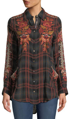 Johnny Was Warner Painters Smocked Embroidered Plaid Button-Down Shirt, Plus Size