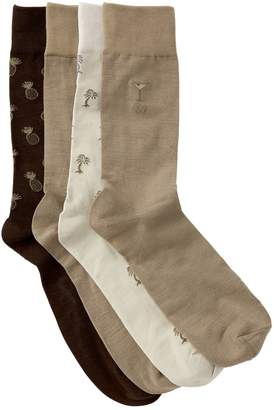 Tommy Bahama Tossed Pineapples Crew Socks - Pack of 4