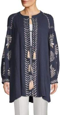 Kas Riely Embroidered Cotton Tie-Front Tunic