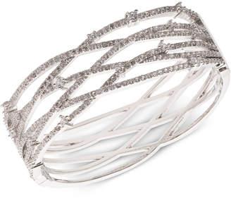 Carolee Silver-Tone Pave Openwork Cuff Bracelet