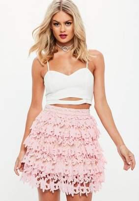 Missguided Premium Pink Lace Ruffle Mini Skirt