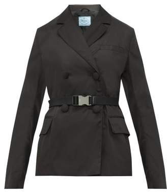 Prada Clip Buckle Gabardine Nylon Jacket - Womens - Black
