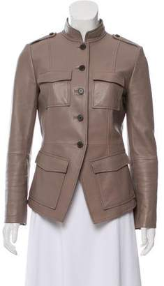 Tory Burch Band-Collar Leather Jacket