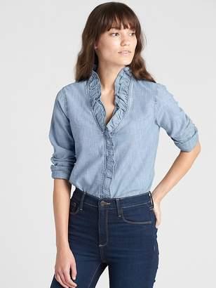 Gap Ruffle-Trim Long Sleeve Shirt in Chambray