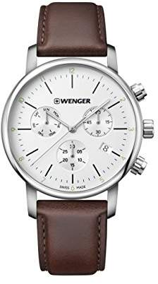 Wenger Men's 'Classic' Swiss Quartz Stainless Steel and Leather Casual Watch