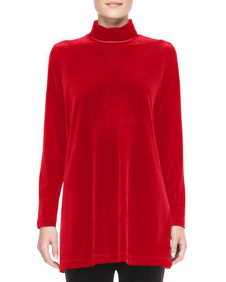 Joan Vass Velour Long-Sleeve Turtleneck Tunic