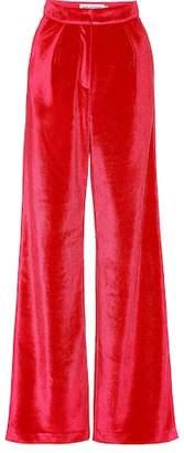 Self-Portrait High-rise wide-leg velvet pants