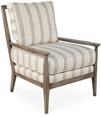 Joe Ruggiero Collection Oslo Chair - Dove Stripe Sunbrella