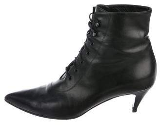 Saint Laurent Leather Pointed-Toe Ankle Boots