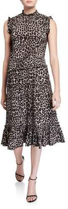 MICHAEL Michael Kors Cheetah-Print Sleeveless Smocked-Waist Dress