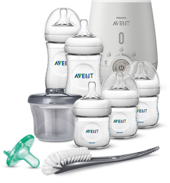 Philips Philips Avent Natural 8-Piece Wide Neck Stage 1 Premium Gift Set With Bottle Warmer