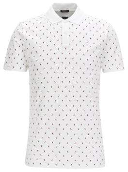 BOSS Hugo Cotton Blend Polo Shirt, Slim Fit Plater 06 L White