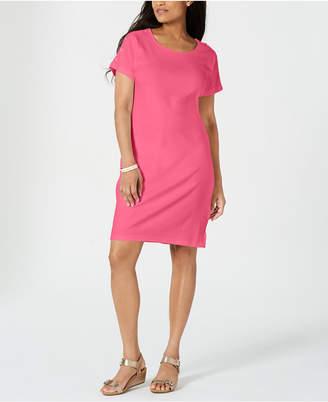 Karen Scott Petite Button-Shoulder Shirtdress