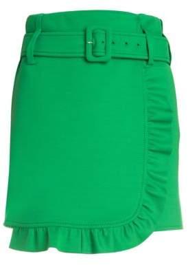 Prada Techno Jersey Belted Ruffle Wrap Mini Skirt