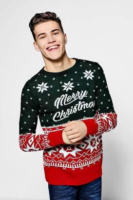 boohoo Merry Christmas Fairisle Jumper