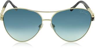 Roberto Cavalli Merga 905S Gold Metal Aviator Sunglasses w/Crystals