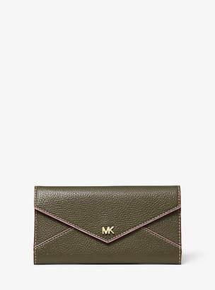 Michael Kors Large Two-Tone Pebbled Leather Envelope Wallet