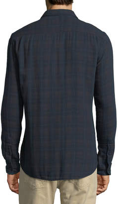 Velvet Windowpane Plaid Flannel Sport Shirt