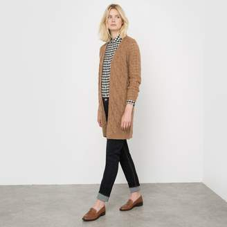 La Redoute Collections Long Cable Knit Cardigan in Wool/Mohair Blend