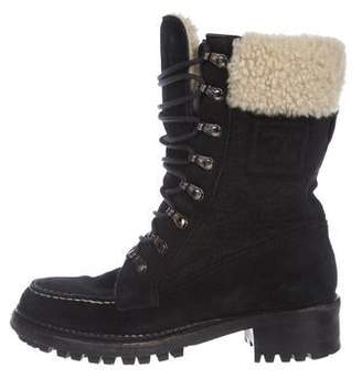 Chanel Suede and Fleece-Lined Ankle Boots