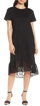 Chelsea28 Swiss Dot Hem T-Shirt Dress (Regular & Plus Size)