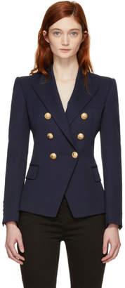 Balmain Navy Wool Six-Button Blazer