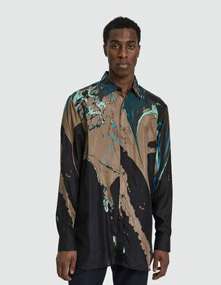 Dries Van Noten Printed Satin Button Up Shirt in Black