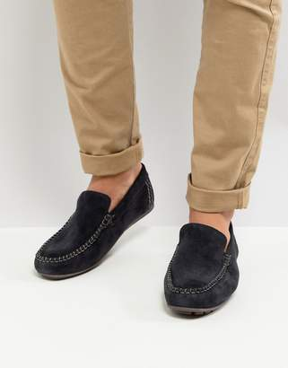 Base London Henton Suede Loafers in Navy