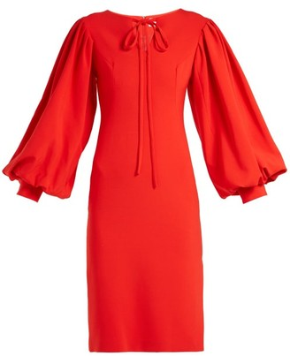 Osman Maxine Blouson Sleeve Crepe Dress - Womens - Red