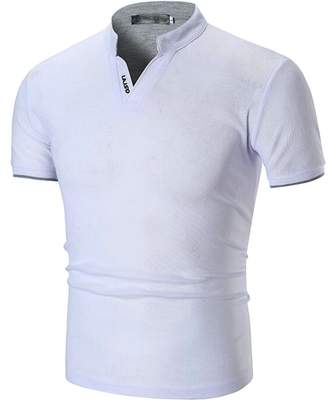 46592c7a881cb Wofupowga Men s Polos Blouse Short Sleeve Stand Collar Comfy Slim Fit V  Neck T-Shirts